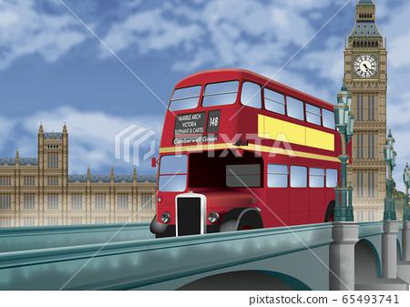 倫敦巴士和大笨鐘的插圖 65493741