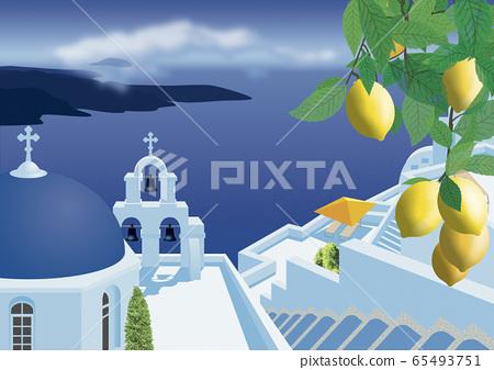 希臘教堂和海圖 65493751