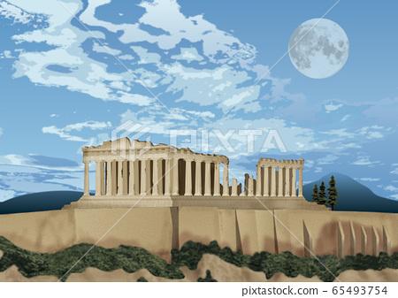 帕台農神廟和月亮圖 65493754