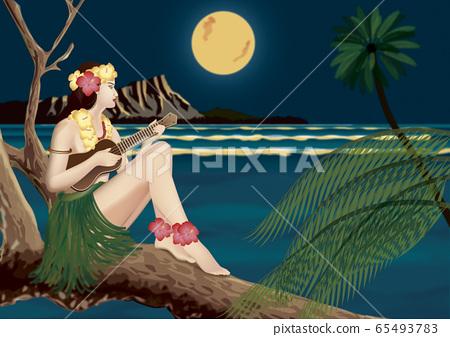 하와이 우쿨렐레를 연주하는 여자 일러스트 65493783