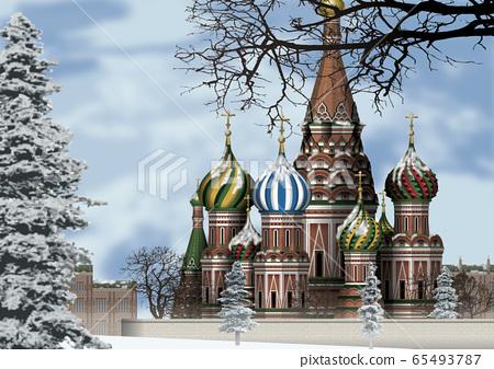 겨울 모스크바의 일러스트 65493787