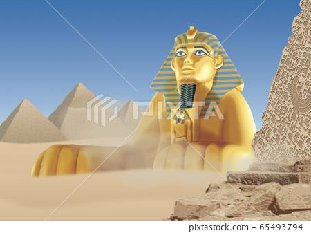 獅身人面像和金字塔的插圖 65493794