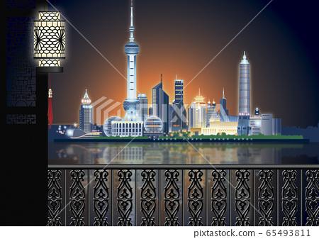上海東方明珠塔和浦東新區的插圖 65493811