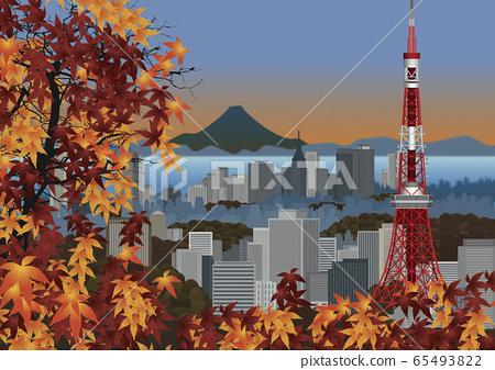 秋天的葉子和東京鐵塔和建築物的插圖 65493822