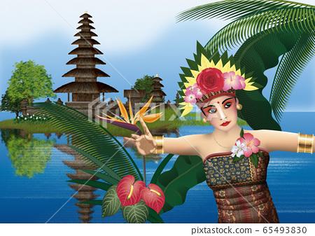 一座廟宇和一個女人跳舞kecak的插圖 65493830