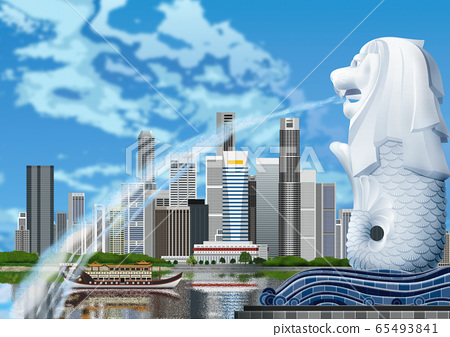 魚尾獅和建築物的插圖 65493841