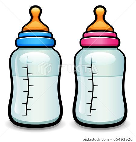 Vector cartoon baby bottle isolated 65493926