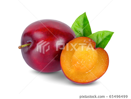 whole and half of cherry red plum with leaf 65496499