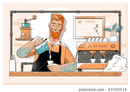 Handsome barista preparing cup of coffee for customer in coffee shop.Line vector illustration 65500514