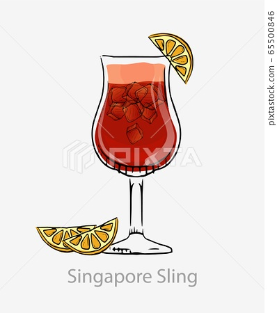Cocktail singapore sling. Red cocktail ice cubes orange slice long drink alcohol gin. 65500846