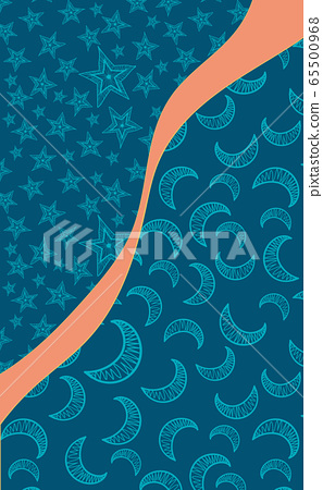 Art for postcard with bright orange stripe symbolizing dawn and crescent-filled and star parts 65500968