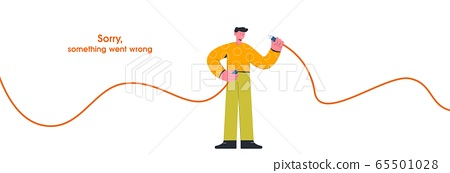 Cartoon guy hold unplugged cable internet disconnect vector flat illustration 65501028
