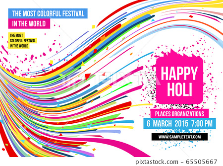 Creative template for Indian festival Happy Holi celebrations with multi color splash and strips on white background. Beautiful Indian festival Happy Holi. 65505667