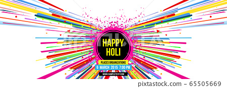 Creative template for Indian festival Happy Holi celebrations with multi color splash and strips on white background. Beautiful Indian festival Happy Holi. 65505669
