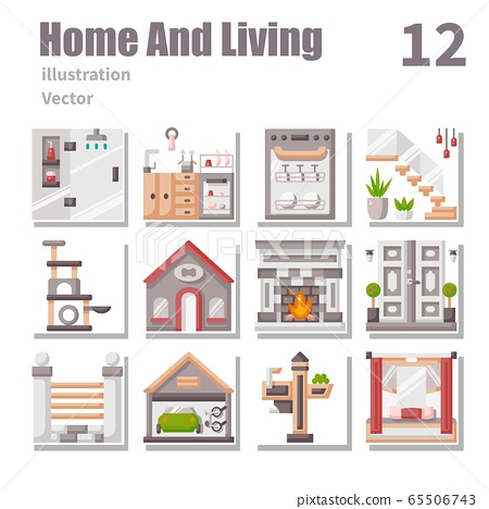 Home And Living icons Flat symbol, vector and 65506743