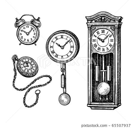 Ink sketch set of vintage clocks 65507937