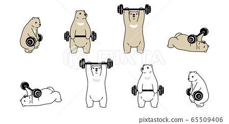 Bear vector polar bear training fitness dumbbell icon logo teddy cartoon character symbol illustration doodle white brown design 65509406