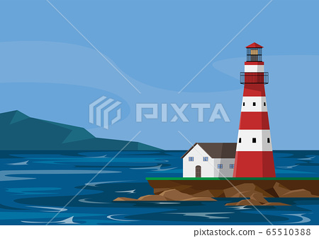 Lighthouse, seascape bluesky with mountain, flat design, vector illustration 65510388