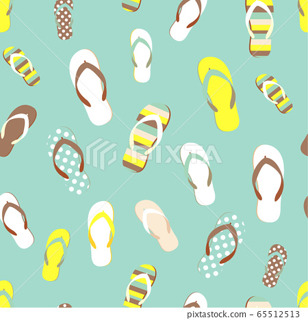 Flip flop color summer pattern. Seamless repeat background. Cartoon flat illustration. 65512513