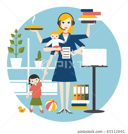 Multitask woman. Mother, businesswoman with baby, older child, working, coocking and calling. 65512691