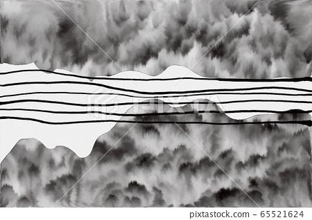 抽像美東方水彩紋理,山,樹,森林 65521624