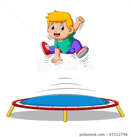 Cute Little boy jumping on trampoline 65522796
