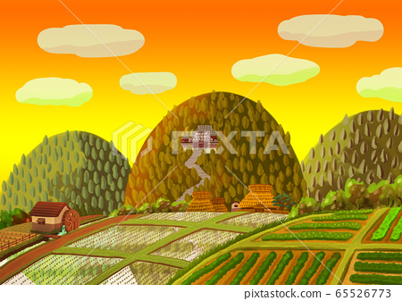 Countryside landscape with mountain temple 65526773