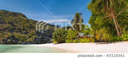 Hidden long so called Star Beach with sporadic accommodation. El Nido, Palawan, Philippines. Tour C route and Sightseeing Place 65528561