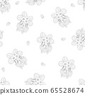 Strawberry and Flower Outline Seamless on White 65528674