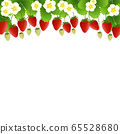 Red Strawberry and Flower Frame on White 65528680