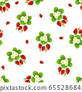 Red Strawberry and Flower Seamless on White 65528684