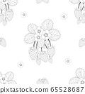 Strawberry and Flower Outline on White Background 65528687