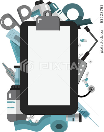 Writing pad paper clip board. Frame on the theme of health. Flat vector illustration. 65528765