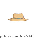 Yellow straw hat with the bent fields and blue 65529103