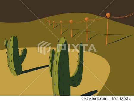선인장이있는 사막 65532087