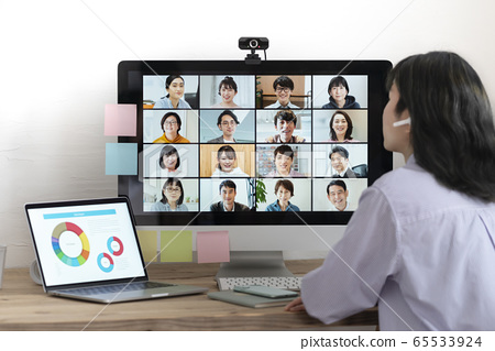 Online meeting Web conference Telework image 65533924