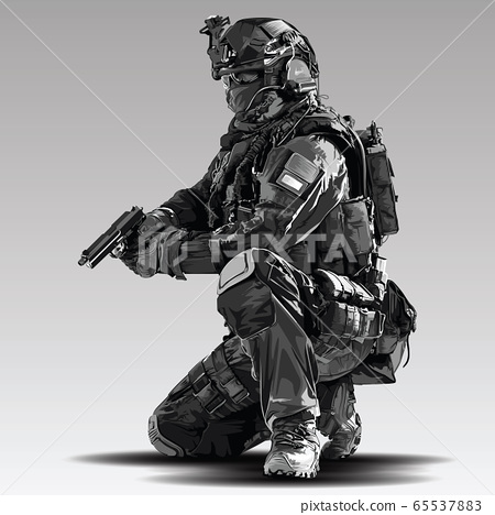 Vector Policeman Tactical Shoot Illustration. 65537883