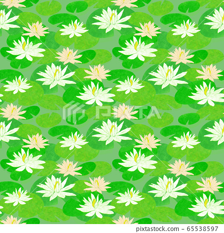 Seamless pattern with white and pink water lilies 65538597