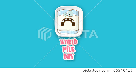 World milk day greeting banner with funny cartoon cute smiling milk glass character isolated on azure background. Happy milk day concept illustration with kawaii food funky character. 65540419