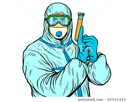 doctor man in protective suit with a test tube a vaccine a medicine, epidemic 65541433
