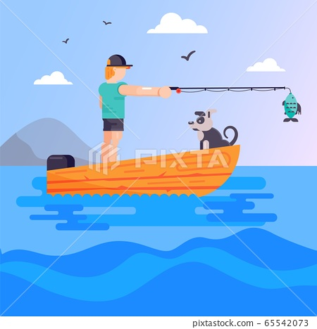 Happy fisherman with dog standing in boat on vector nature cartoon outdoor character hobby illustration. Man with fishing rod. 65542073
