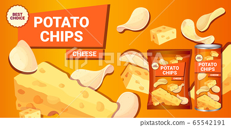 potato chips with cheese flavor advertising composition of crisps natural potatoes and packaging 65542191