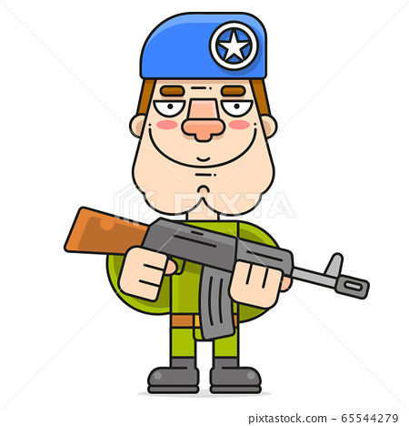 Soldier In A Beret And A Machine Gun Illustration 65544279