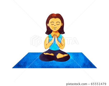 woman yoga on mat cartoon character watercolor 65551479