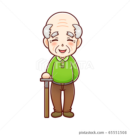 微笑著old著拐杖的老人 65551508