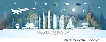 Travel landmarks south korea city with flight and 65552439