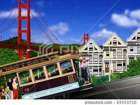 舊金山金門大橋和纜車圖 65553720
