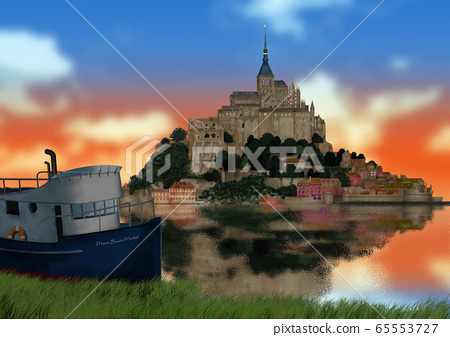Evening view of Mont Saint Michel and ship image 65553727