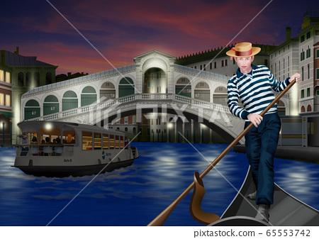 划船里亞托橋和吊船的男人的插圖 65553742
