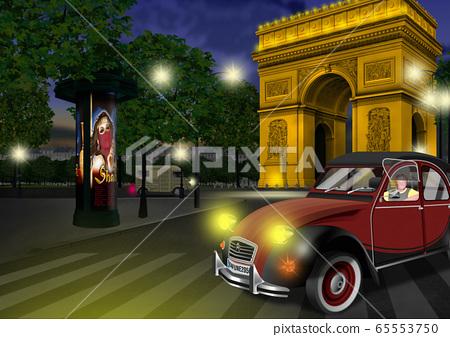 晚上在法國凱旋門的插圖 65553750